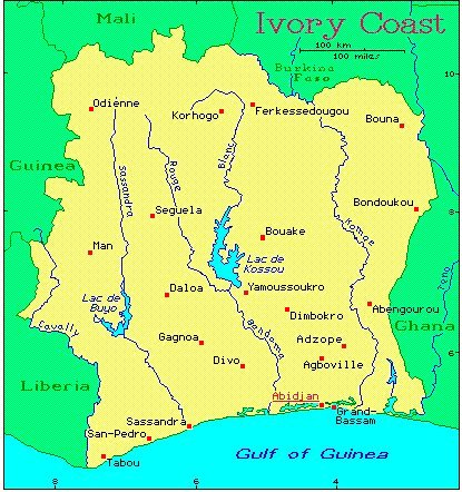 Ivory Coast African Countries Gateway Africa Safaris - Ivory coast map of africa