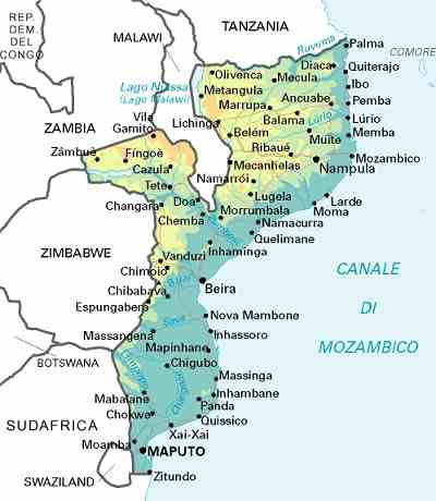 Mozambique african countries gateway africa safaris map of mozambique gumiabroncs Images